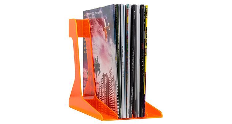 Vinyl Record Stand Orange with Records
