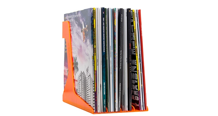 Vinyl Record Stand Orange full with Records
